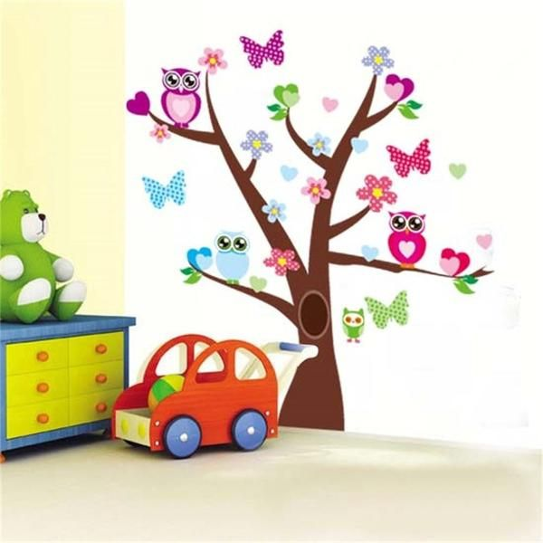 Wise owls butterflies on colorful tree wall stickers for kids rooms
