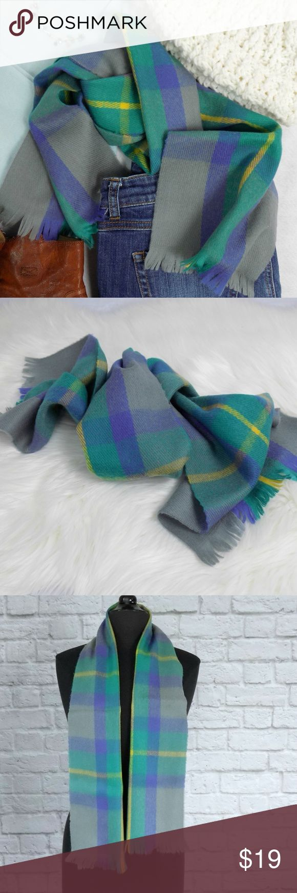 """Vintage Jewel Tone Plaid Scarf Wrap Tie Tie this scarf in trending colors and pattern onto your favorite bag so you always have that chic little wrap this season (even if the weather turns cold again). Soft, warm, timeless.  Brand: Vintage, circa 1980's Color: soft gray, blue-green, purple, electric yellow Width: 10"""" Length: 54"""" Fabric: acrylic blend Care: hand clean Made in USA Excellent Vintage Condition  Bundle and Save on Shipping! Measurements are Approximate. Vintage Accessories…"""