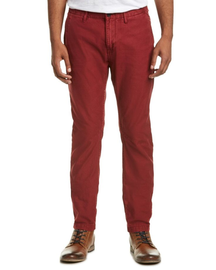 Scotch & Soda Mens Theon Pant, 34/32, Red