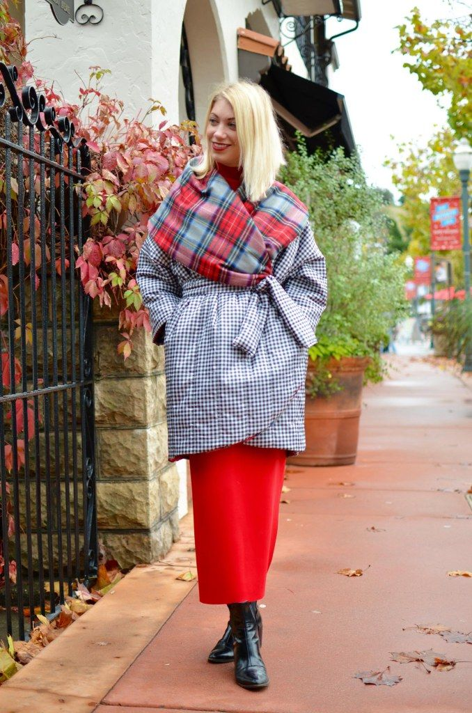 Project Real Way Challenge 8: Editorial New York Look, red scuba column dress worn under oversize reversible plaid cocoon coat
