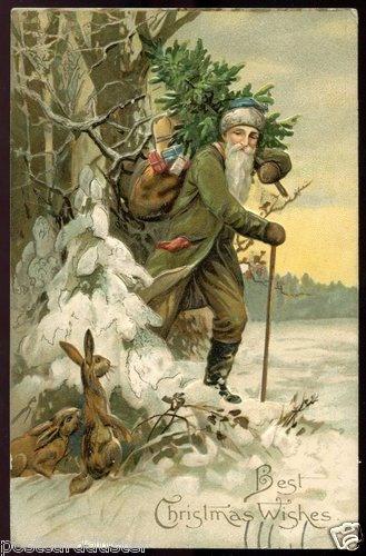 2916 - CHRISTMAS Green Robe SANTA Claus Toys Rabbits Embossed 1910 | eBay