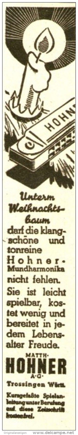 Original-Werbung/ Anzeige 1936 - WEIHNACHTEN / HOHNER MUNDHARMONIKA - TROSSINGEN -  ca. 20 x 120 mm