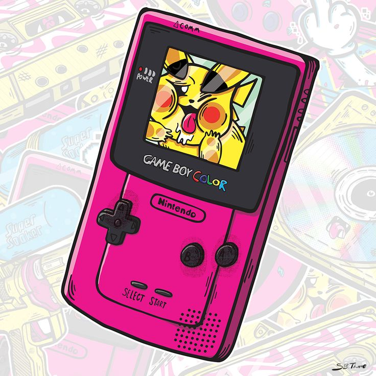 Gameboy Color Sticker by Samuel B. Thorne #pikachu #pokemon #nintendo #gameboy #gaming #art #illustration #90s #nostalgia #sticker #SamuelBThorne