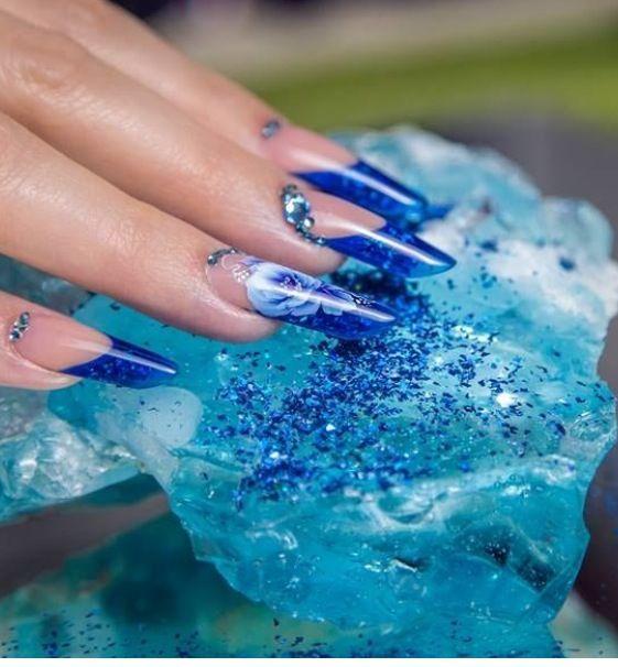 Blue  Nails, unhas de acrílico, acrylic nails, gel nails, nail art