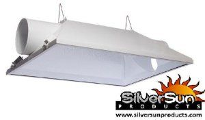 "XXXL 6"" Air-Cooled Reflector Hood by SilverSun. $160.00. THE LARGEST and BEST Reflector HOOD on the Market -Constructed with heavy duty pre-galvanized steel and powder coated for durability -Made with premium 95% reflective European aluminum with re-strike bend above lamp -Comes with built in socket and 15' pre-wired lamp cord and hangers -Maximum cooling with built-in 8"" ventilation fittings - Built in socket accepts High Pressure Sodium Bulbs or Metal Halide B..."