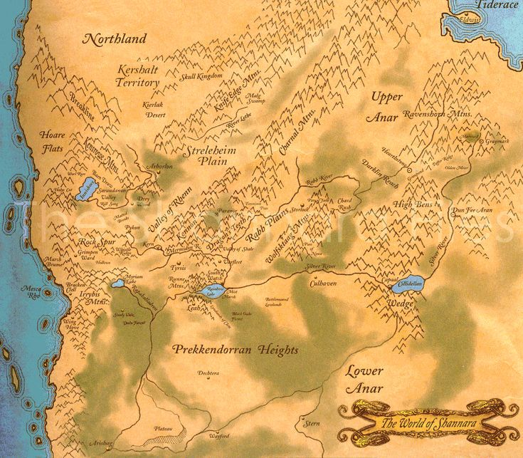 From Terry Brooks Shannara Saga, The map of the Four Lands - Google Image Result for http://www.alitheia.org/shannarafiles/images/Map_Four_Lands.gif
