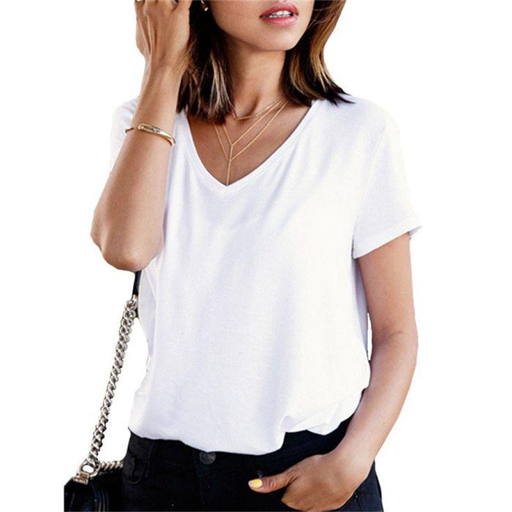 Tops Women Summer Cotton Top Plain V Neck Short Sleeve Casual T-shirt