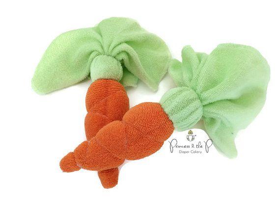 Washandje wortel, Peter Rabbit Baby Shower, Peter Rabbit luier Cake, decoraties, Tuin, groente, Beatrix potter, boerderij baby douche
