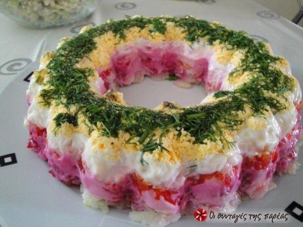 Σαλάτα Χριστουγεννιάτικη σαν τούρτα #sintagespareas #salatahristougenniatiki