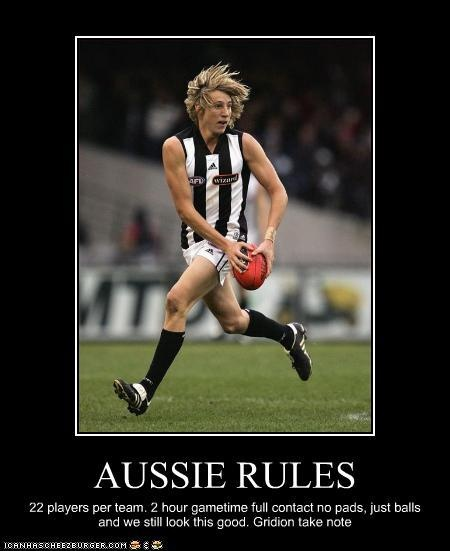 Aussie Rules Football. Full contact, no pads. Gridiron football should take note! #yankinaustralia #football