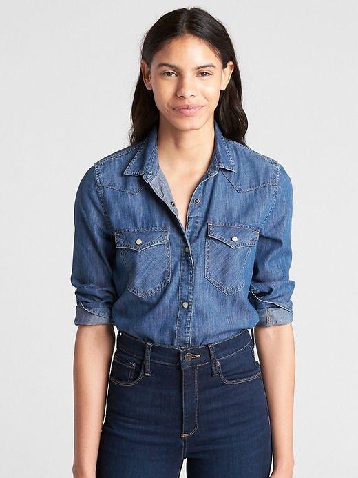 5b9bf73c19 Gap Womens Denim Western Shirt Dark Indigo   Products in 2019 ...