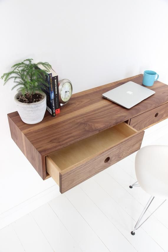Floating Desk In Solid Walnut Wall Mounted Desk Mid Century Modern In 2020 Floating Desk Wall Mounted Desk Mid Century Desk