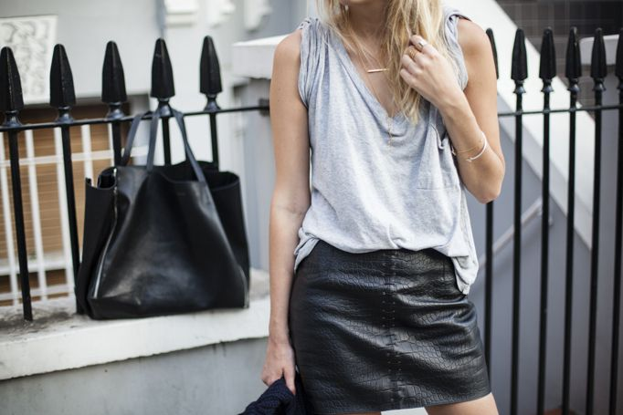 Leather skirts and oversized tops.