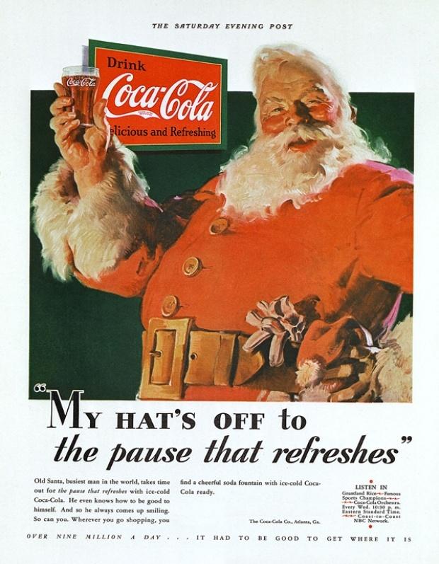 Affiche Coca Cola de 1931 - Le fameux Père Noël rouge