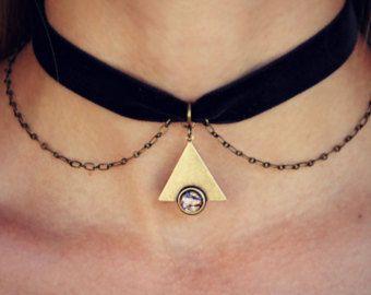 pink opal velvet choker opal choker pink opal necklace