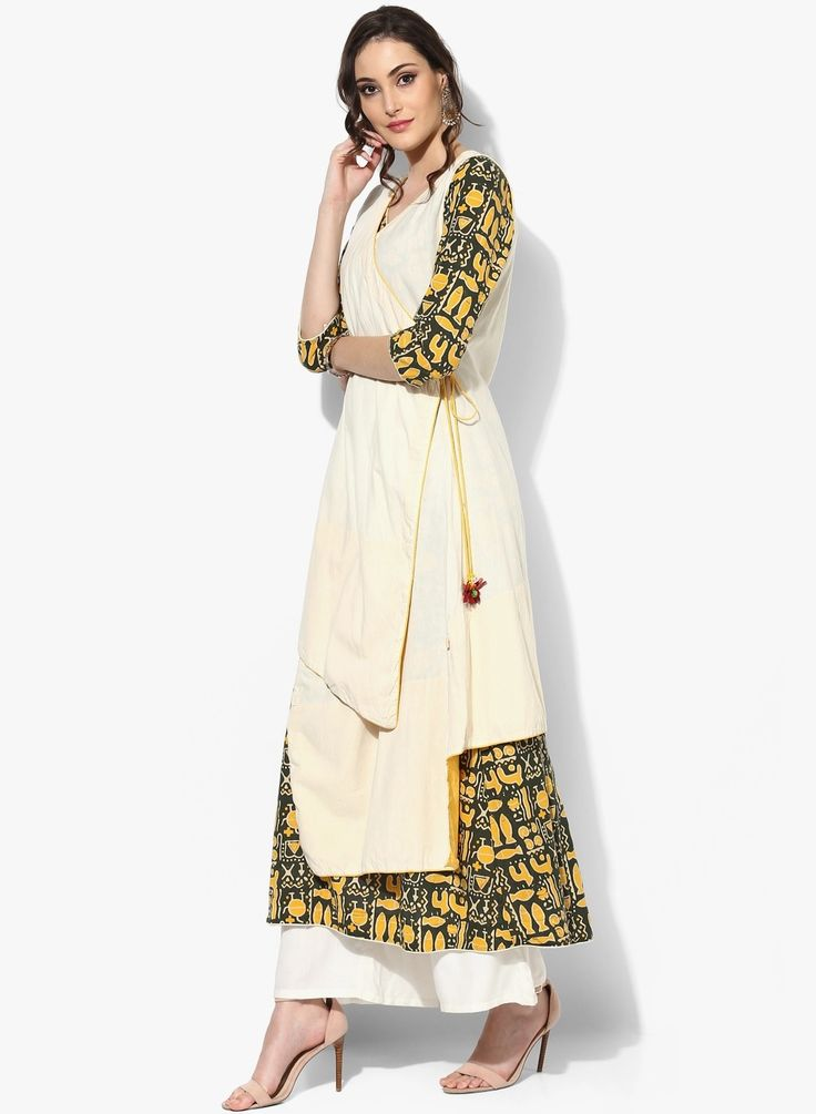 Cream Printed Cotton Kurta With Lining #kurta #womenfashion
