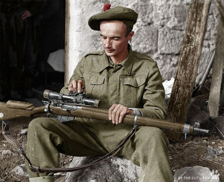 WW2 Sniper Lance Corporal A.P. Proctor cleaning his rifle, Italy 1943.