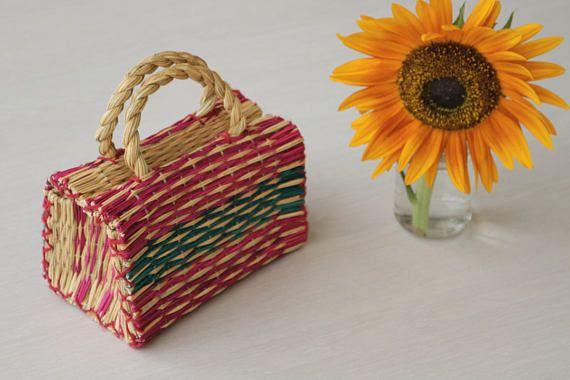 Portuguese Reed Bag with handles, traditional portuguese bag, handmade, handbag, child purse, summer basket.