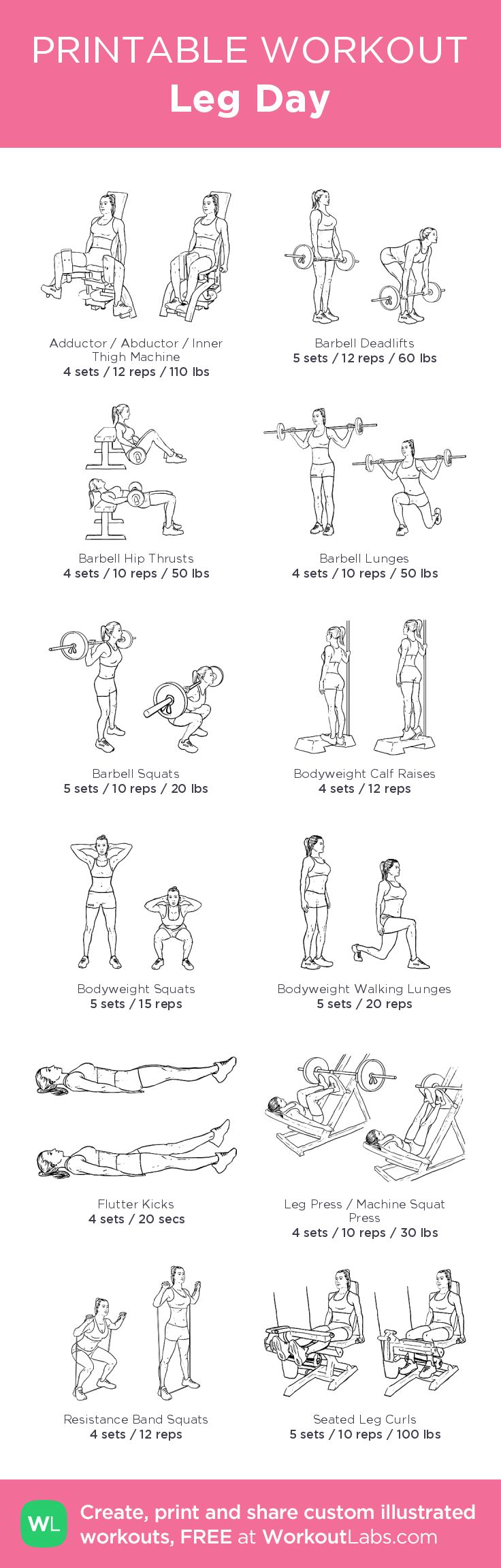 Leg Day– my custom exercise plan created at WorkoutLabs.com • Click through to download as a printable workout PDF #customworkout