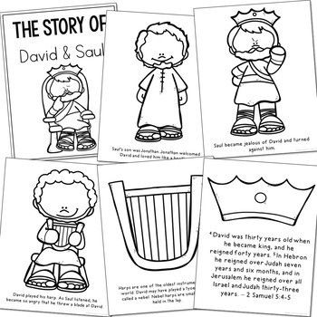 DAVID AND SAUL Bible Story Coloring Pages and Posters
