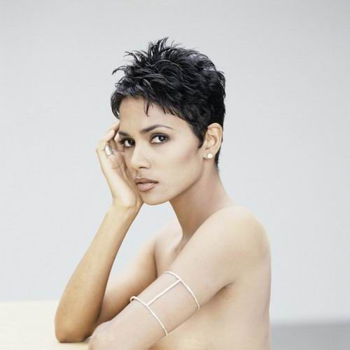 Halle Berry sexy short pixie hair