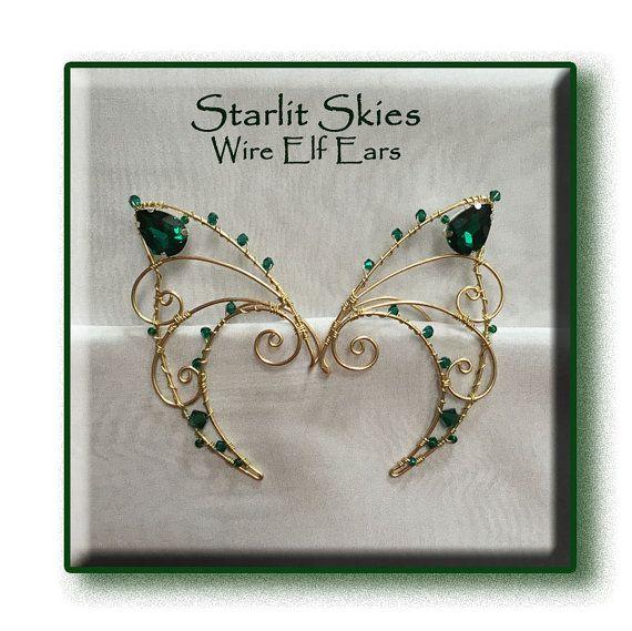 Orecchie da elfo in ottone e cristalli color di StarlitSkies