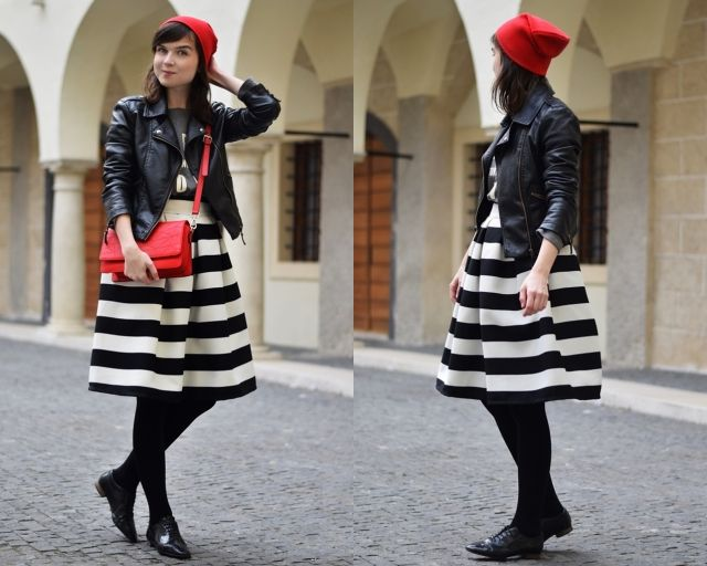 striped skirt, red riding hood, red handbag. cute outfit by www.fresshion.com