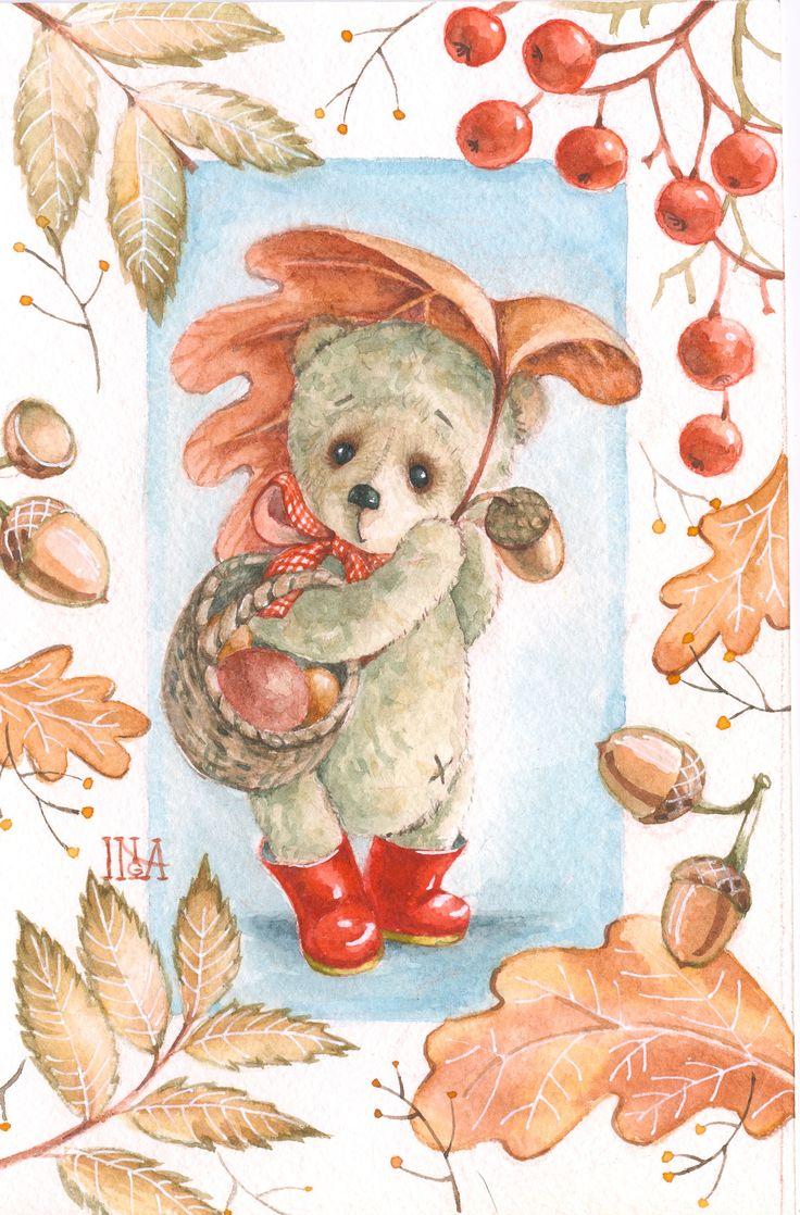 Inga Izmaylova watercolor postcard custom по мотивам игрушек Хлебодаровой Марии
