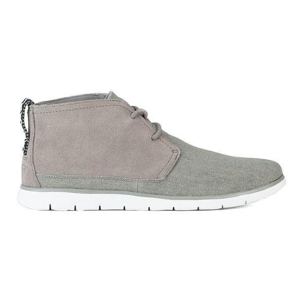 UGG Australia Men's Freamon Canvas/Suede 2-Eyelet Chukka Boots (155 CAD) ❤ liked on Polyvore featuring men's fashion, men's shoes, men's boots, grey, mens canvas shoes, mens shoes, mens lace up boots, mens grey suede boots and mens suede chukka boots