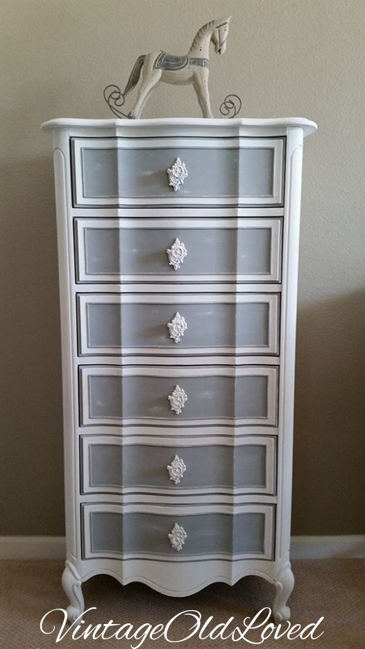 Vintage French Provincial Lingerie Chest. Chalk Painted