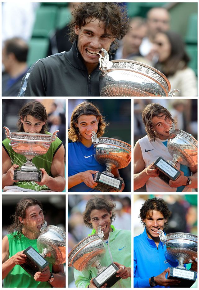 Rafael Nadal captured his Open-era record seventh French Open on Monday, defeating Novak Djokovic 6-4, 6-3, 2-6, 7-5 in the rain-suspended men's final at Roland Garros. And as his custom after a big victory, Nadal took a bite out of the trophy. This photo compilation shows the Spaniard chomping down after his seven championships at the French Open.