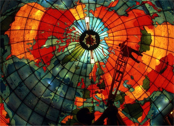 Stained-glass-map-of-earth: Stainedglass, Built In, Glasses Domes, Globes, National Geographic, World Maps, Science Center, Photo, Stained Glasses