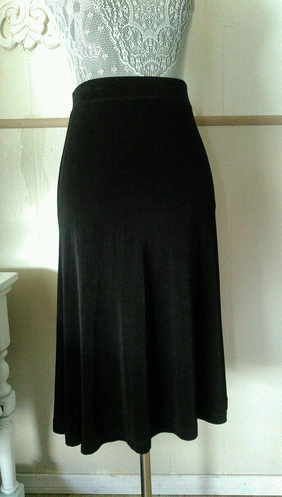 CHICO'S Travelers black slinky stretch skirt size 2 M knee length a-line #Chicos #ALine