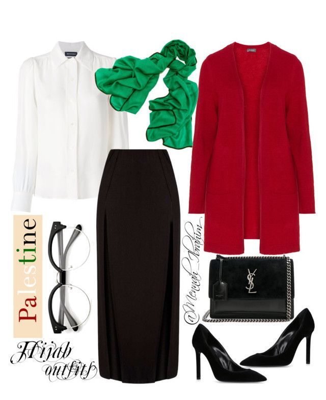 #Hijab_outfits #modesty #Winter #Formal #Palestine by mennah-ibrahim on Polyvore featuring polyvore fashion style Samoon Vanessa Seward Yves Saint Laurent Black clothing