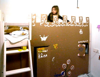 Cardboard Box To Turn A Bunk Bed Into A Castle Kid S