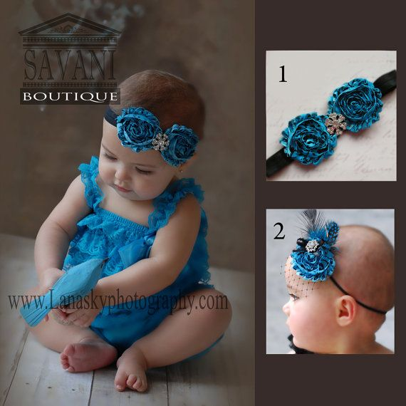 2 pieces teal  Petti Romper Set. Lace Petti Romper , headband and romper, Baby Girl Photo Prop on Etsy, $25.99