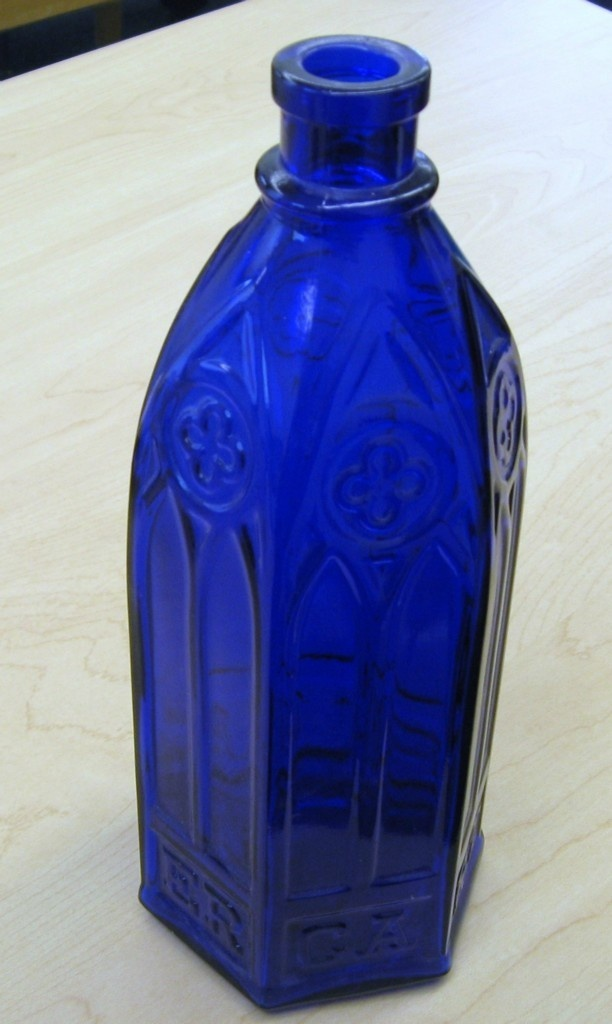 "RARE Carter's G 101 Cathedral Ink Bottle Cobalt Blue Glass 9 3 4"" Tall Mint 