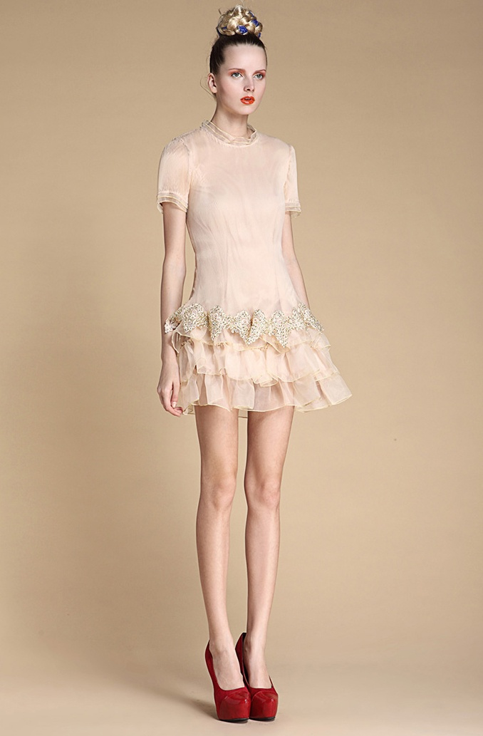Apricot Short Sleeve Cascading Ruffle Embroidery Dress