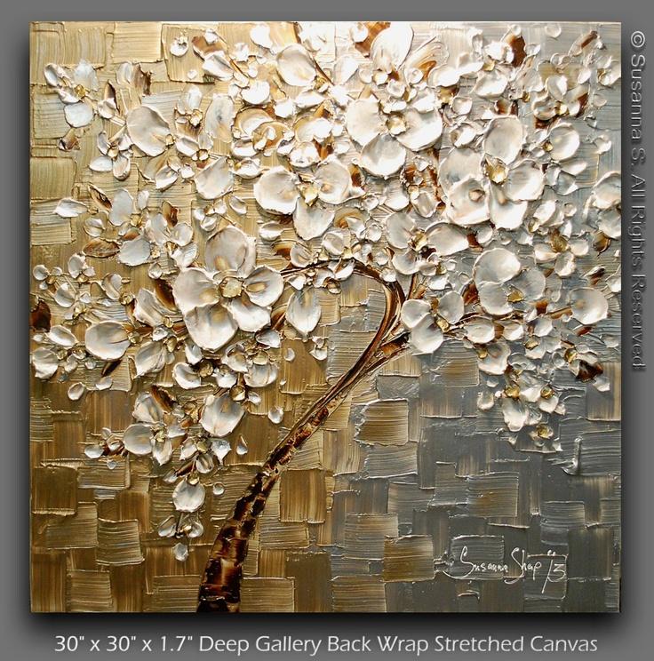 Contemporary tree painting textured modern impasto - Art salon definition ...