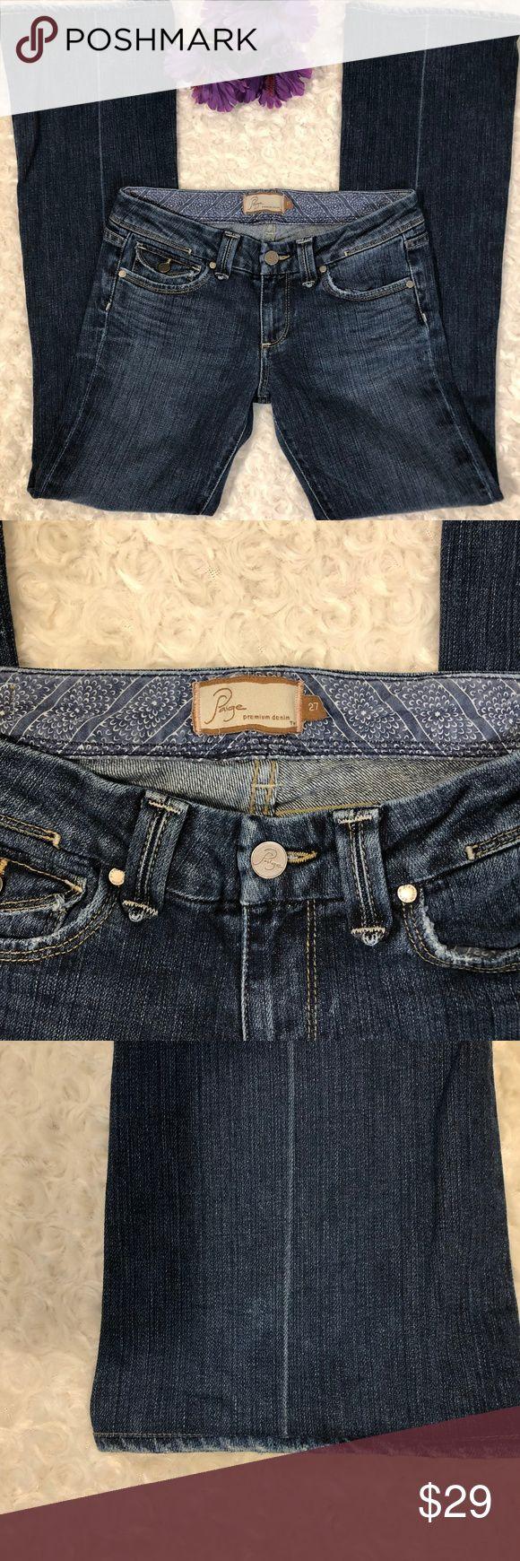 "Paige Premium Denim, Pico, Size 27 Paige Premium Denim, Pico, Size 27 Paige Premium denim jeans, Pico cut, distressed style slight wear to the bottom. Excellent Condition.  Approximate Measurements- Length-39"" Inseam-31"" Material- 98% Cotton/2% Lycra  BS-P-19 Paige Jeans Jeans Flare & Wide Leg"