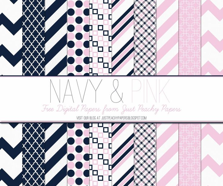 Just Peachy Designs: Free Digital Paper: Navy and Pink
