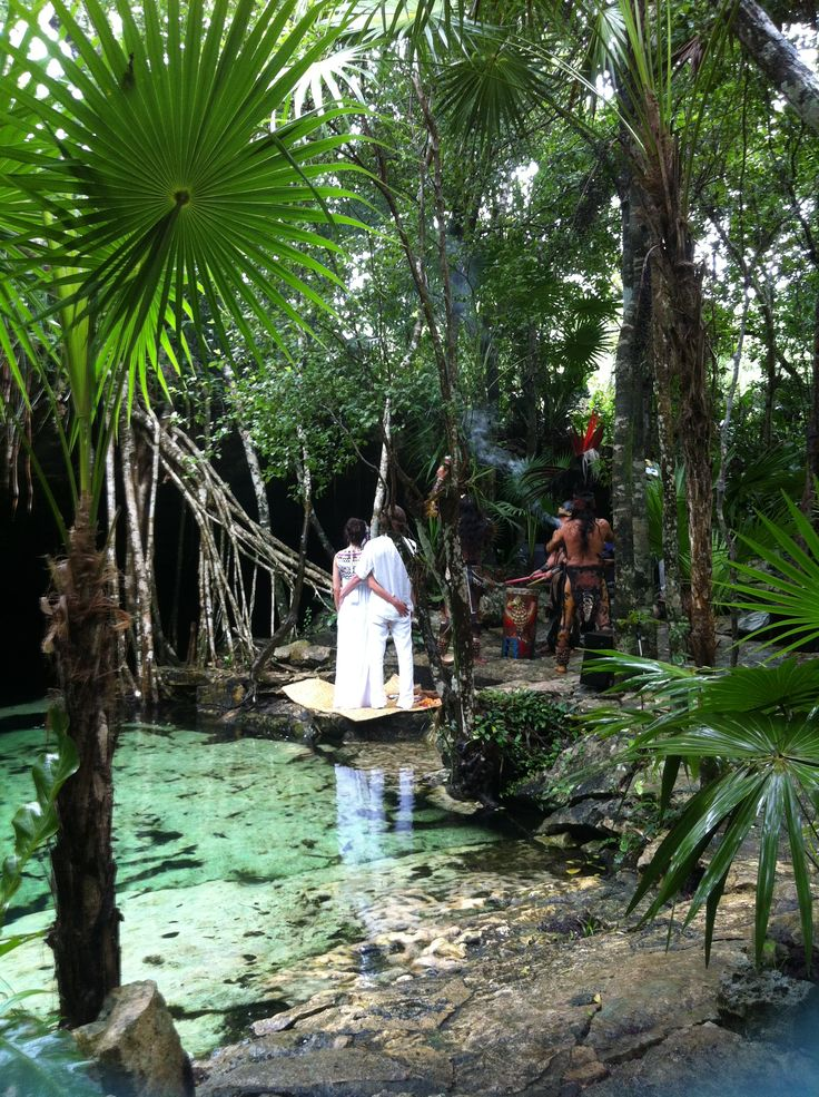 Mayan wedding in the Cenote area in Riviera Maya ! it is a perfect moment to enjoy the nature ! Only with Whitechic wedding info@whitechicwedding.com