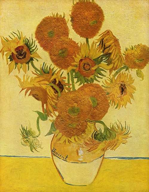 Vincent van Gogh, Sunflowers (1888) .. His most iconic. Look at the withered flowers.. His way of probably depicting vitality and dying in the same picture