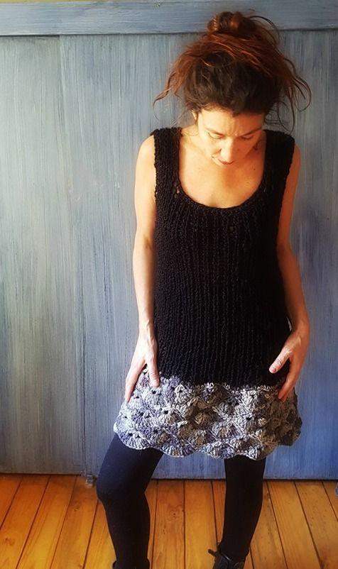 Vestido palillo y crochet