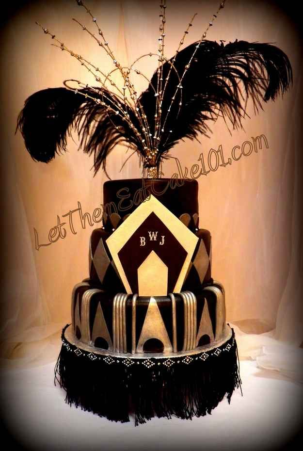 Beautiful art deco cake for a Roaring 20's party!