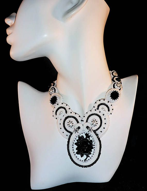 Handmade Soutache necklace  Black Rose