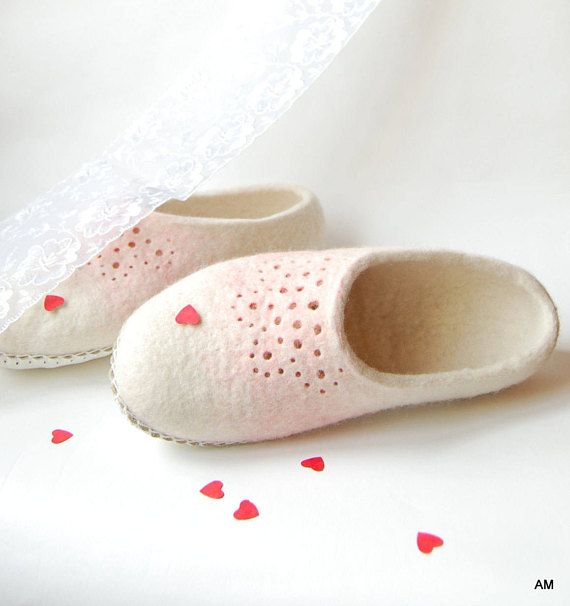 Wedding felted slippers White wool with pink perforation ornament - womens woolen house shoes - eco living - gift for her. Handmade felted slippers are made using all natural products- 100% wool, water and olive oil soap. Soles are covered with natural leather. These slippers are for women. I