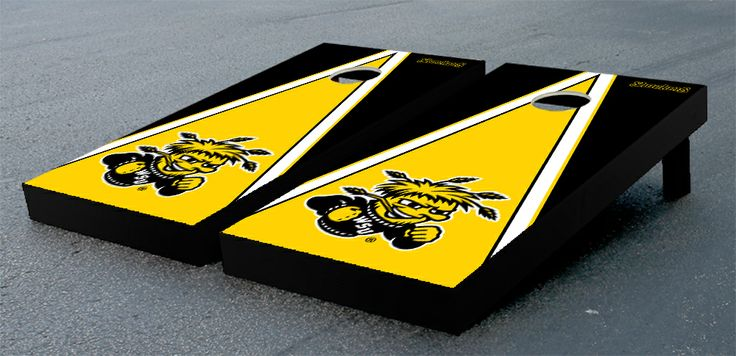 Our 	Wichita State University WSU Shockers Cornhole Game Set Triangle Wooden. Get your custom set at victorytailgate.com