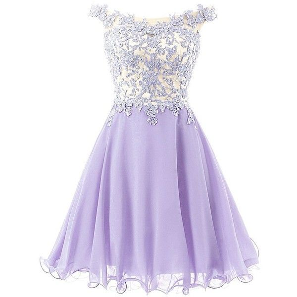 FNKS Women's Straps Lace Bodice Short Prom Gown Homecoming Party Dress (4,995 INR) ❤ liked on Polyvore featuring dresses, lullabies, purple dress, short dresses, lace dress, purple prom dresses and homecoming dresses
