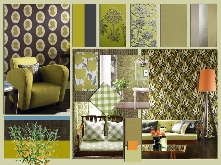 Create your own moodboard at http://www.sampleboard.com/  Beautiful green and botanical themed living room interior. Bring your garden indoors! #design #moodboard